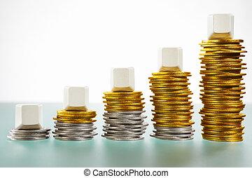 在上方, 硬幣, 五, 空白, 堆, 塊