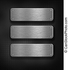 在上方, 金屬, 三, 格子背景, 盤子