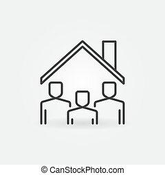在下面, 線, 矢量, 屋頂, 簽署, 停留, icon., 家, 人們