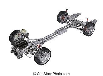 在下面, 車, 技術, 3, d, rendering, ......的, a, 一般, 轎車, 當代, 汽車。,...