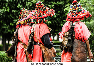 在中的人们, 传统, 衣服, 在中, marrakesh, morocco.