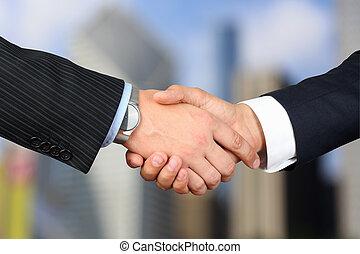 在之間, 同事, 圖像, 公司, 特寫鏡頭, outsi, 握手, 二