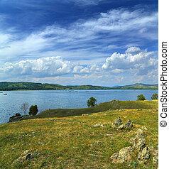 在之间, 小山, 风景, 湖