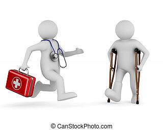 在拐杖上的人, 以及, 醫生。, 被隔离, 3d, 插圖