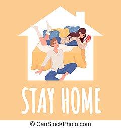 在期间, illustration., design., 妇女, coronavirus, 套间, 家, 海报, 年轻人, 停留, 开心, 矢量, 一起, 时间, 开支