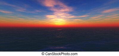 在海洋中的日落