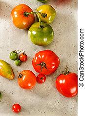 在空中察看, 在中, 红和绿色, 本国产, 番茄