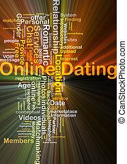 在網上 約會, 背景, 概念, 發光