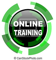 在網上, 訓練, 圖象, 綠色, 現代, 設計, 被隔离, 按鈕, 网, 以及, 流動, app, 設計, 插圖