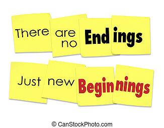 在那裡, 是, 不, 結束, 僅僅, 新的開始, 說, 黏性的筆記