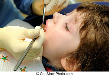 在, a, 牙醫, 檢查
