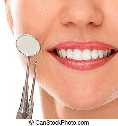 在, a, 牙醫, 由于, a, 微笑