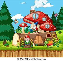 地の精, 家, スタイル, 材木, 漫画, 背景, きのこ, 庭