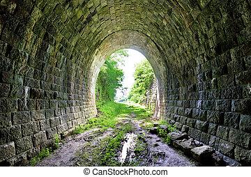 地下のトンネル, れんが, 長い間