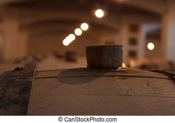 地下室, 大きい, 樽, ワイン