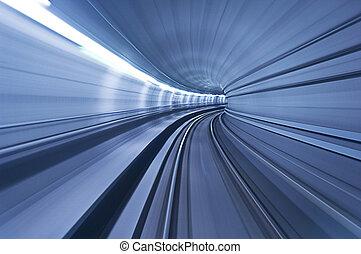 地下鉄, トンネル, 中に, 高いスピード