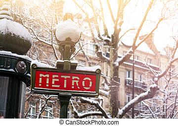地下鉄, パリ, 雪, 印, 有名, カバーされた