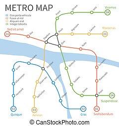地下鐵道, 地鐵火車, map., 矢量, 城市, 運輸, 概念