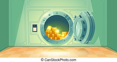 地下, ドア, 銀行, ベクトル, 開いている金庫
