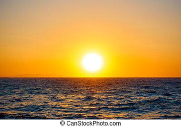 地中海, -, 日没, 海