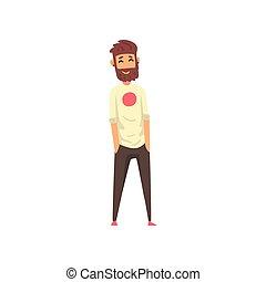 地位, あごひげを生やしている, 彼の, ポケット, イラスト, ベクトル, 背景, 手, 白, 微笑の人