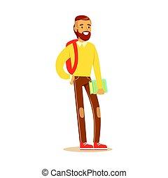 地位, あごひげを生やしている, 彼の, ライフスタイル, 保有物, カラフルである, バックパック, 特徴, 若い, イラスト, 偶然, ベクトル, 学生, 手。, 衣服, 本, 人