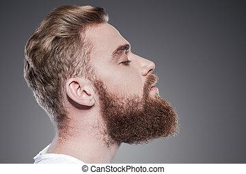 地位, あごひげを生やしている, 閉じられた, 若い, 光景, 保持, に対して, 灰色, handsome., 間, ...