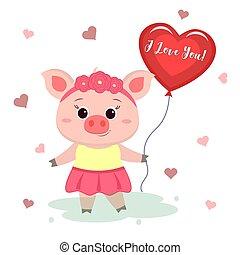 地位, かわいい, おめでとう, 花, 心の形をしている, 平ら, ベクトル, バレンタイン, day., s, 縁, 保有物, balloon., 漫画, 豚, 服, デザイン, スタイル