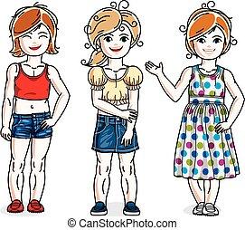 地位, かわいい, わずかしか, セット, 女の子, clothes., 美しい, 子供, ベクトル, 流行, 偶然, illustrations.