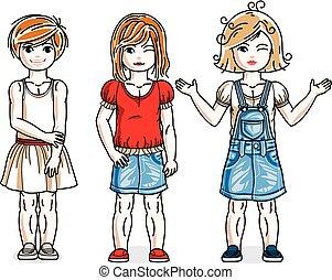 地位, かわいい, 別, セット, 女の子, わずかしか, clothes., 美しい, 子供, ベクトル, 流行, 偶然, illustrations.