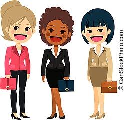 地位, かわいい, 女性実業家