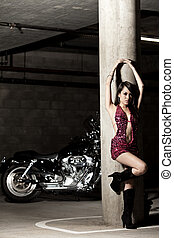 地位, かわいい, 女, フィリピン人, ファッション, アジア人, セクシー, オートバイ