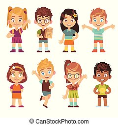 地位, かわいい, 子供, グループ, 面白い, 肖像画, set., 女の子, 漫画, 男の子, 特徴, 子供, 十代の若者たち, 子供, 子供, 幼稚園, 幸せ