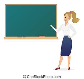 地位, かわいい, 学校, 女, illustration., teacher., 黒板, 若い, 教師, ベクトル, 女性, ブランク, 前部, 漫画