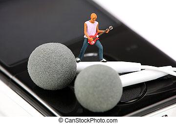 地位, つぼみ, ミニチュア, ギター プレーヤー, 対, 耳