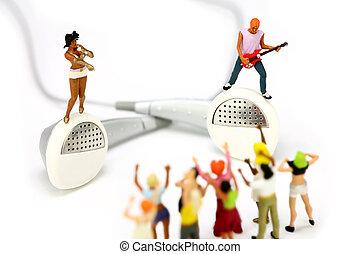 地位, つぼみ, 歌手, ミニチュア, ギター プレーヤー, 対, 耳