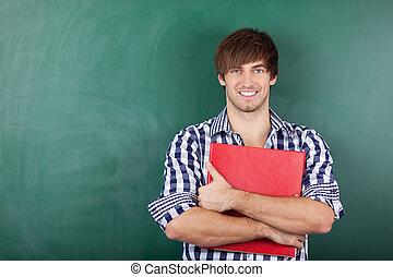 地位, に対して, つなぎ, 黒板, 学生, マレ, 赤