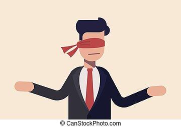 地位, はっきりしない, 概念, blindfolded, マネージャー, choice., cloth., 赤, カバーされた, ビジネスマン, eye., ∥あるいは∥, ブラインド, 前に