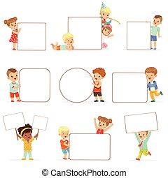 地位, わずかしか, 子供, 板, set., 白, 女の子, 男の子, ベクトル, 保有物, ブランク, イラスト, ポスター, 幸せに微笑する, 偶然, 空, 衣服