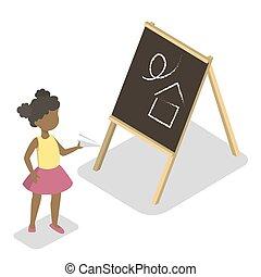 地位, わずかしか, 幼稚園, paperplane, 子供