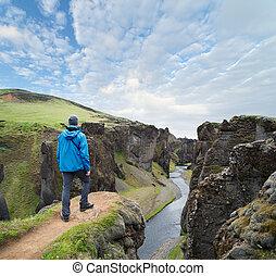 地位, アイスランド, 上, 峡谷, 観光客