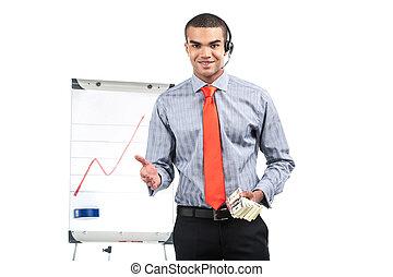 地位, ウエスト, お金, の上, hands., 保有物, アフリカ, タイ控索, プレゼンテーション, ジェスチャーで表現する, 赤, 人