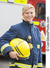 地位, エンジン, 火, 消防士, 前部, 肖像画