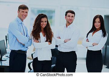 地位, オフィス。, グループ, businesspeople, 一緒に