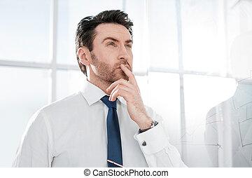 地位, オフィス。, ビジネスマン, 夢を見ること