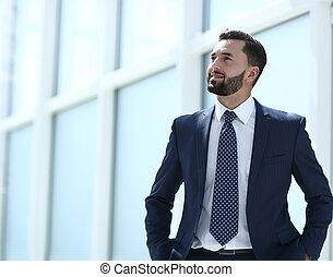 地位, オフィス。, 明るい, ビジネスマン, 夢を見ること