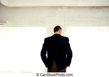 地位, オフィス, 背中, 肖像画, ビジネスマン, 光景
