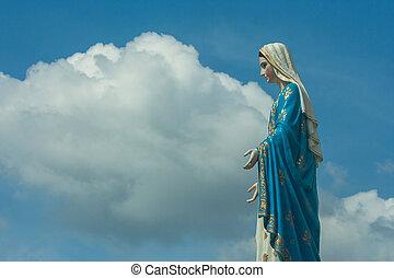 地位, カトリック教, 概念, 背景, diocese, 青い空, 祝福された, chanthaburi, 州, 新しい, ローマ人, thailand., 像, 前部, 大聖堂, mary, しみ一つない