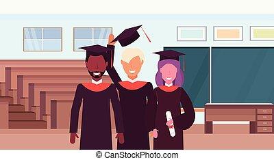 地位, ガウン, 概念, グループ, 部屋, 生徒, 大学, 現代, 劇場, 一緒に, 帽子, 混合, レース, 教室, 講義, 内部, 肖像画, 横, 教育, ホール, 講堂