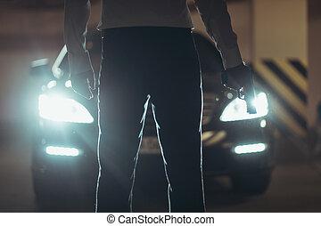 地位, キラー, 自動車, イメージ, 男性, 切り取った, handgun., 前部, ピストル